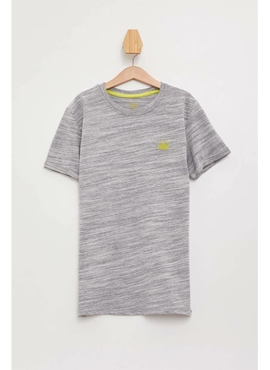 DeFacto Desenli Kısa Kollu T-shirt Gri